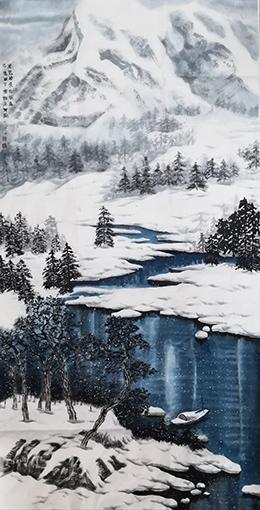 万丽作品1《才见岭头云似盖,己惊岩下雪如尘》96×178cm.jpg