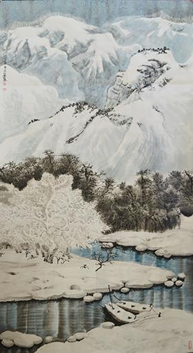 万丽作品2《溪山瑞雪》96×178cm.jpg