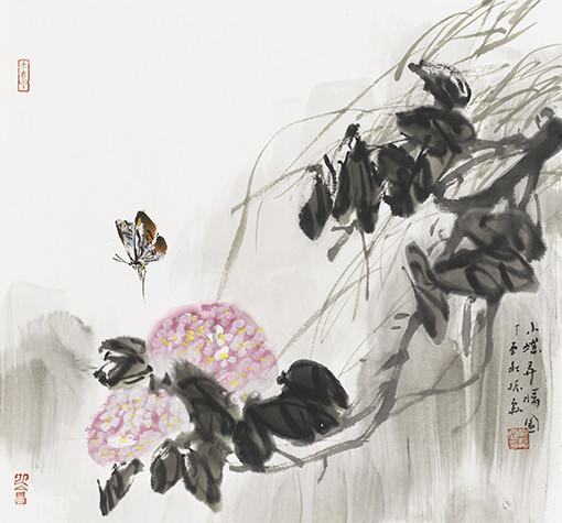 仇振霖作品《小蝶弄晴》49x52cm.jpg