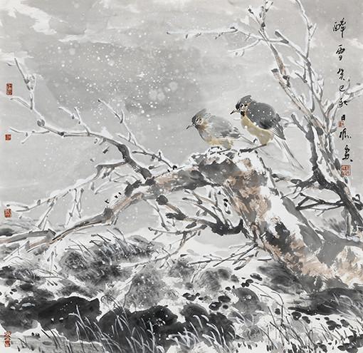 仇振霖作品《醉雪图》68x68cm.JPG