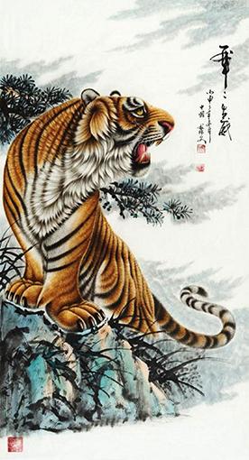 黎文作品 《虎虎生威之二》规格:180cmx97cm 创作年代:2016年.JPG