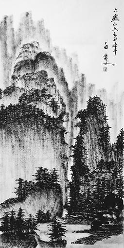 黎文作品 《六盘山上高峰》 规格:69cmx138cm 创作年代:2019年.JPG
