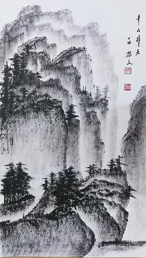 黎文作品 《青山净土》 规格:69cmx138cm 创作年代:2018年.JPG