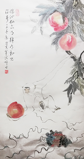 张焯作品《白猿献寿》规格:100cmX55cm.jpg