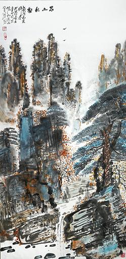 童世明作品《家山秋壑》规格:68cmx138cm 创作年代:2019年.jpg