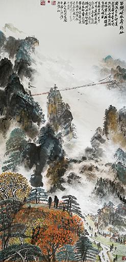 童世明作品《苗乡峡谷飞彩虹》规格:68cmx138cm 创作年代:2019年.jpg