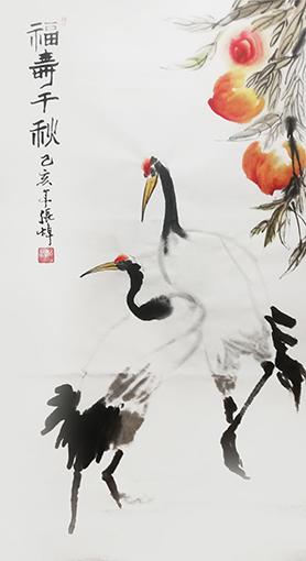张焯作品 《福寿千秋》规格:138cm×69cm.jpg