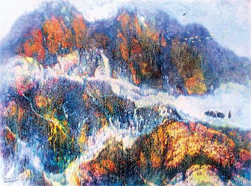 慈向群油画作品 《高原春雪》 规格:95cmX70cm.jpg