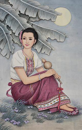 """肖耀彩作品3《月光下的""""少哆哩""""》103 X 64cm       2013年.JPG"""