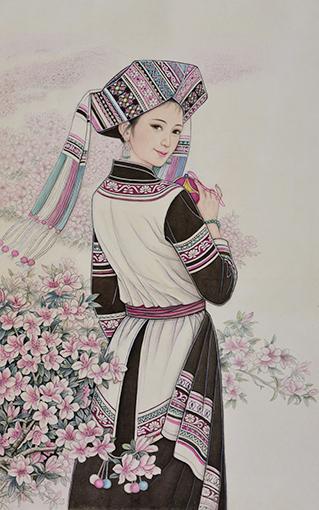 肖耀彩作品4《她在丛中笑》97 X  64cm  2014年.JPG