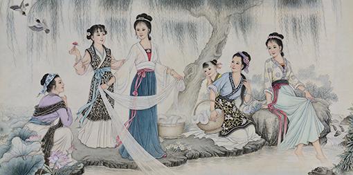 肖耀彩作品6《西施故里》136X67cm 1981年.JPG
