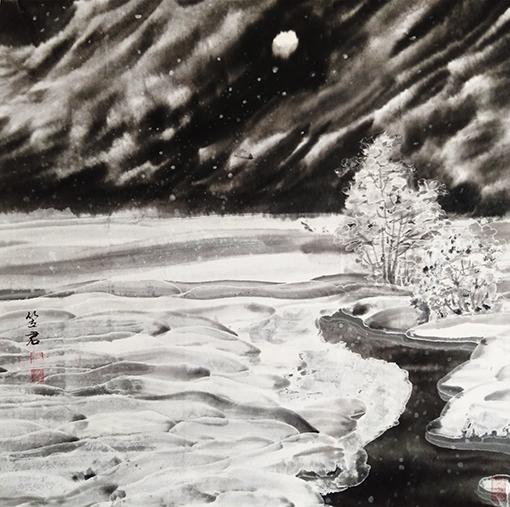 杜利军作品10《清月寒野》69X69cm.jpg
