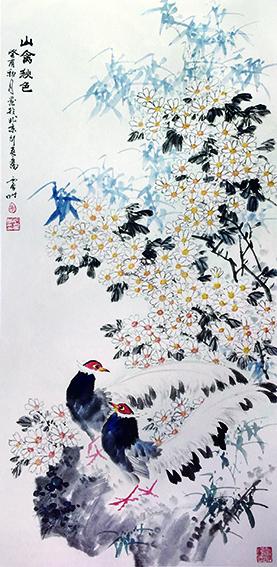 徐震时作品4《山禽秋色》  1993年  135cm×68cm.jpg