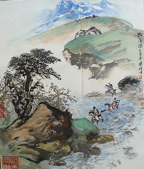 梁桂才作品 《牧居图》.JPG