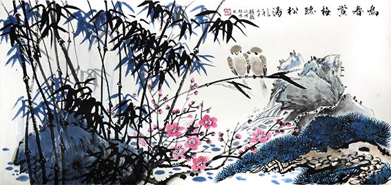 赵磊作品 《鸣春赏梅听松涛》规格:137cmx68cm.jpg