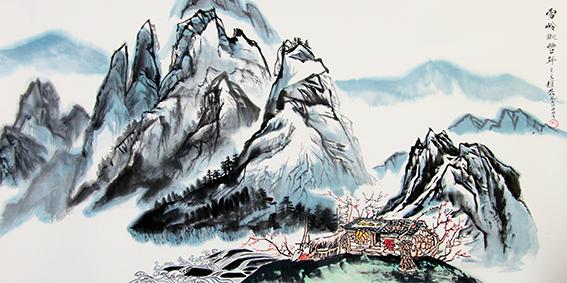 赵磊作品 《雪岭眺丰年》规格:137cmx68cm.JPG