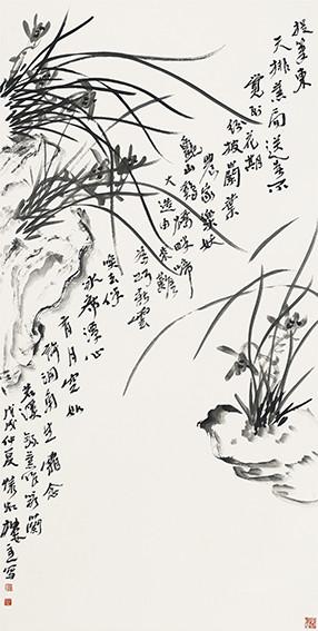 苏凤智作品 自题诗《墨兰》规格:138cmx69cm.jpg