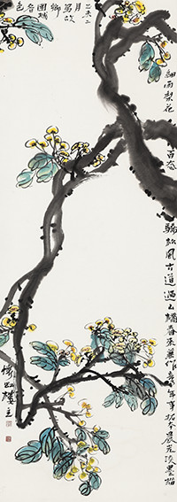 苏凤智作品《故乡团城春色》规格:132cmx40cm.jpg