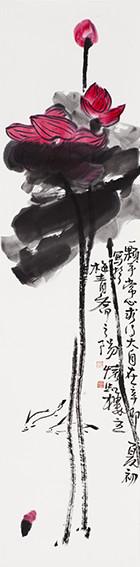 苏凤智作品《一颗平常心 求乃大自在》规格:138cmx34cm.jpg