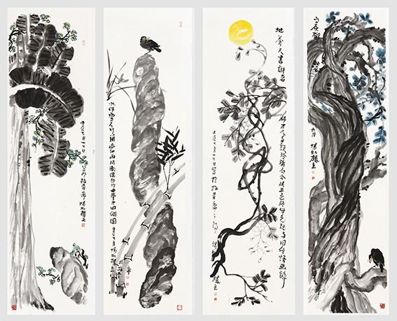 苏凤智作品《西藏左旋柳,地养天书识者稀,梦中扬州个园,焦影临窗》规格:180cm×48cm×4.jpg