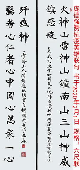 作品7 庞德强楷书《赞抗议英雄联句》 书于2020年2月1日  规格:六尺联.jpg